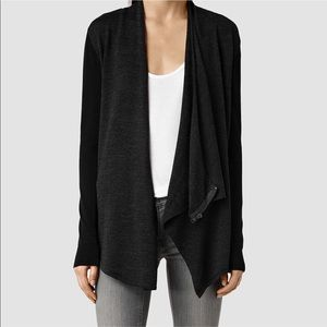 All Saints Drina Cardigan Draped Black Gray 4